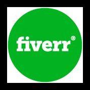 Fiverr Logo, Grüner Hintergrund mit weißem Logo