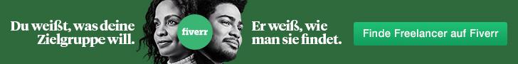 Fiverr Banner, Freelancer werden, grünes Banner, weiße Schrift